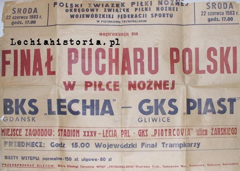 Plakat Puchar Polski 1983 r. Lechia - Piast Gliwice